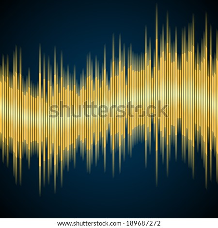 Vector background with abstract yellow music equalizer wave - stock vector
