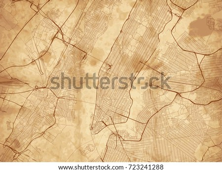 Vector Background All Streets New York Stock Vector 723241288