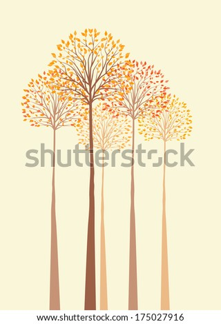 Vector background with autumn trees - stock vector
