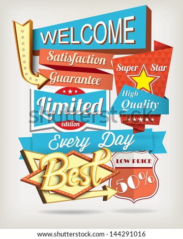 Vector background with badges and labels - stock vector