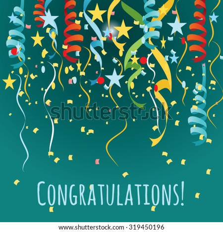 vector background with balloons and confetti. congratulations card  - stock vector