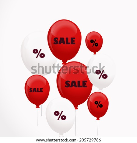 Vector  background with balloons and discounts - stock vector
