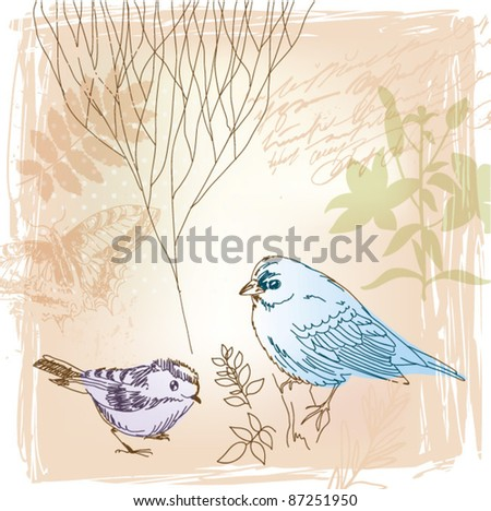 vector background with birds and floral elements - stock vector