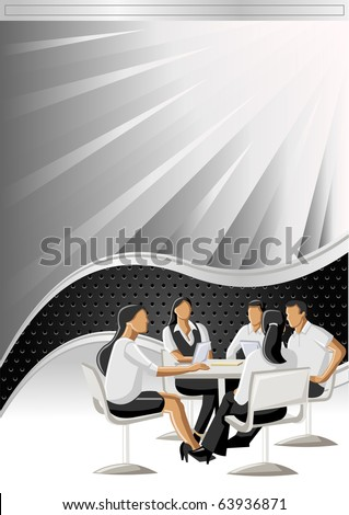 Vector background with black wave and business person