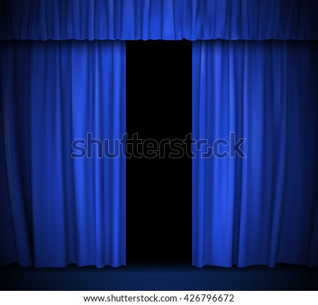 vector background with blue curtain - stock vector