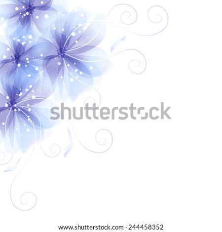 Vector background with blue flowers - stock vector