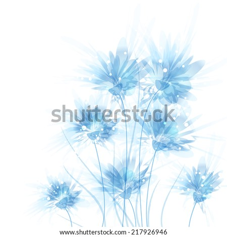 Vector background with blue flowers. EPS 10. Contains transparent objects.