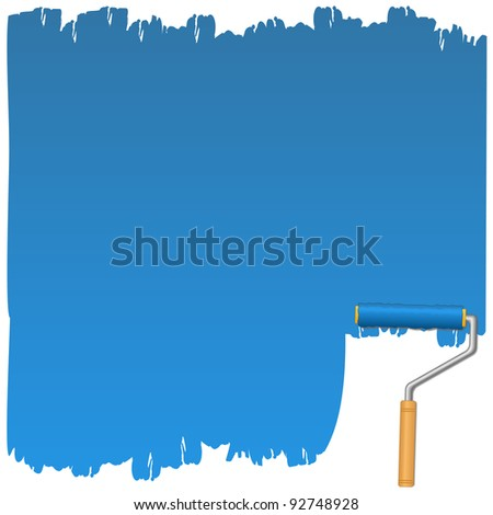 Vector background with blue paint and roller - stock vector