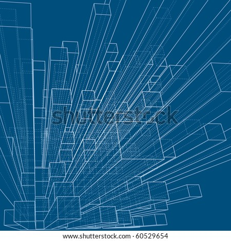 vector background with blueprint of abstract city - stock vector