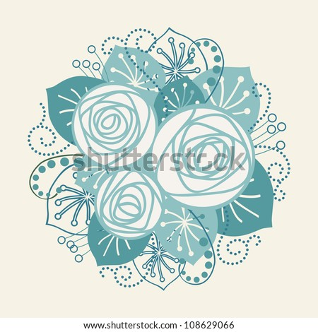 Vector background with bouquet of white roses. Stylized blue flowers, leaves, branches. Invitation and greeting card for wedding and holiday. Romantic abstract floral illustration in form of circle.