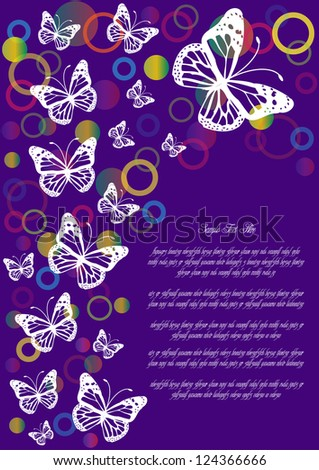 vector background with butterflies and bubbles isolated on violet backdrop