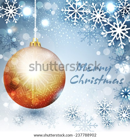 Vector background with Christmas ball and snowflake - stock vector