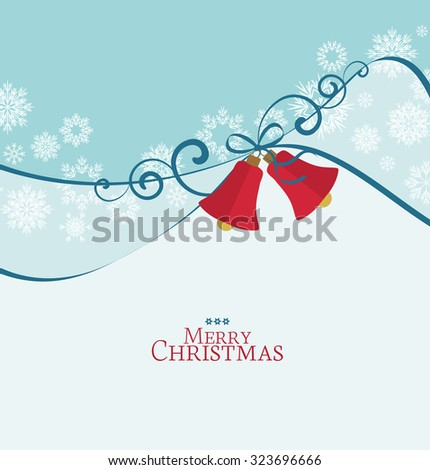 Vector background with Christmas bells, Christmas card - stock vector