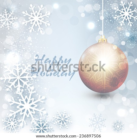 Vector background with Christmas tree ball and snowflake - stock vector