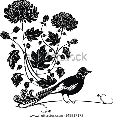 Vector background with chrysanthemums and bird easy to modify