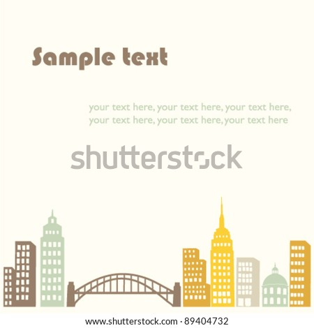 vector background with city silhouette - stock vector