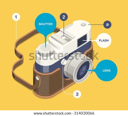 vector background with classic camera - stock vector
