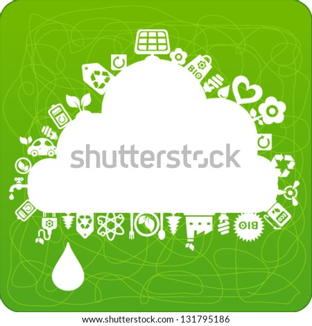 Vector background with cloud shape and ecology icons - stock vector