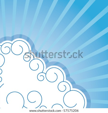 Vector background with clouds and rays - stock vector