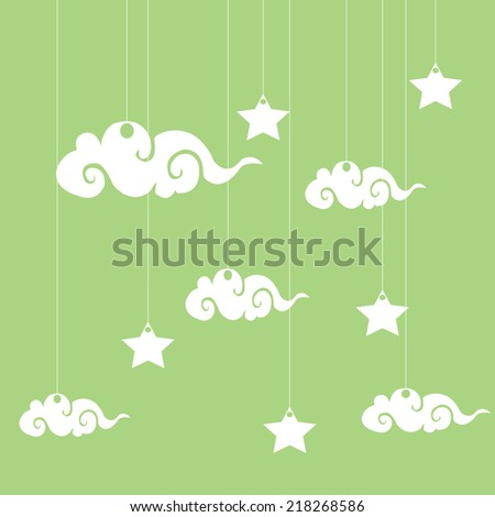 Vector background with clouds, the new moon and the stars - stock vector