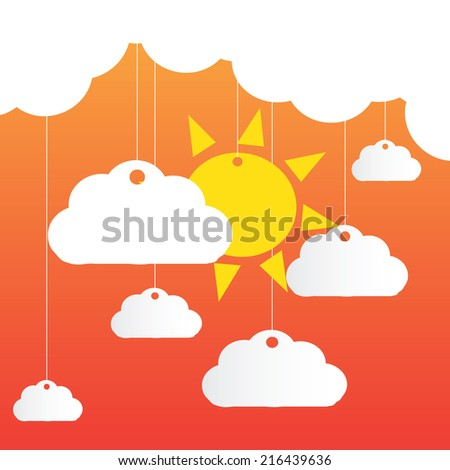 Vector background with clouds, the new sun  - stock vector