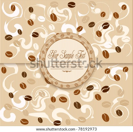 vector background with coffee , stripes and Label - stock vector