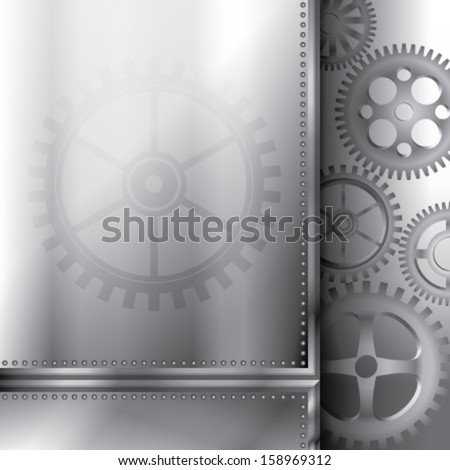 Vector background with cogs and a metallic interface - stock vector