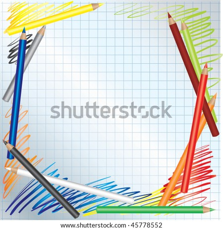 Vector background with Color pencils and paper - stock vector