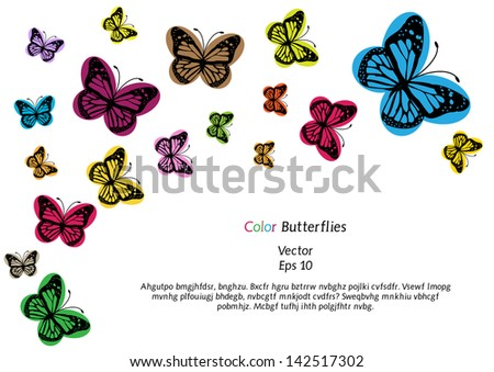 vector background with colorful funny  butterflies silhouettes and place for your text isolated on white background