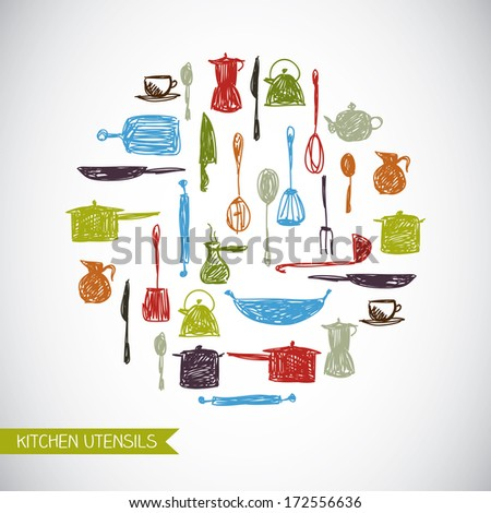Vector background with colorful hand-drawn kitchen utensils - stock vector