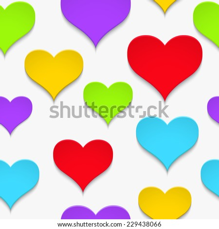 Vector background with colorful paper hearts on a white background