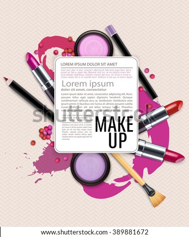 vector background with cosmetics and make-up. (Flyer template) - stock vector