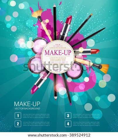 vector background with cosmetics and make-up objects and place for text. (blue flyer template) - stock vector