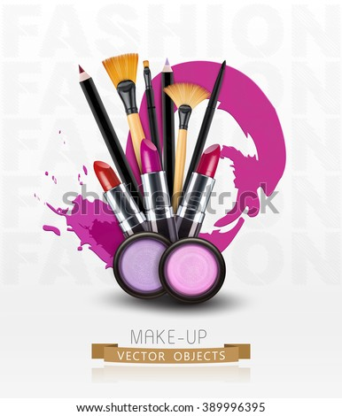 Vector Background Cosmetics Makeup Objects Flyer Stock Vector Hd