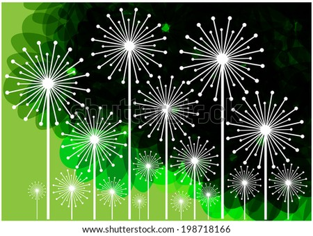vector background with dandelions silhouettes on colorful transparent backdrop - stock vector