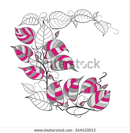 Vector background with decorative leaves
