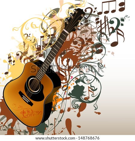 Vector background with detailed guitar, notes and ornament for design - stock vector