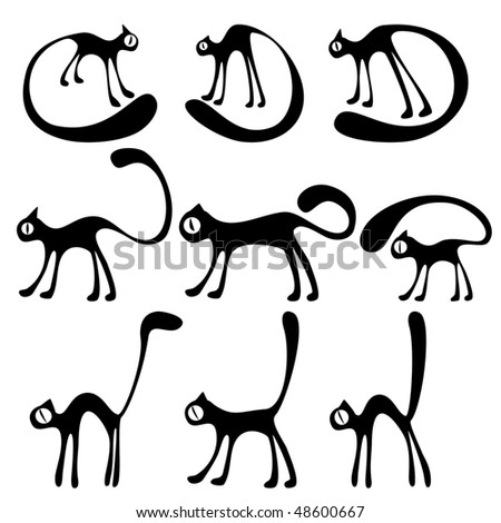 vector background with  different cats