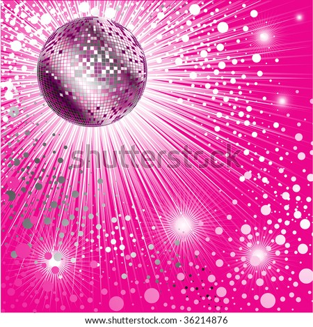 Vector background with disco-ball and glitters - stock vector