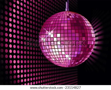 vector background with disco ball for valentine's party - stock vector