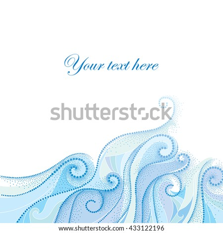Vector background with dotted swirls and blue curly lines isolated on white. Maritime theme with waves and dots for summer design. Elegant horizontal dotted decor. Design elements in dotwork style. - stock vector