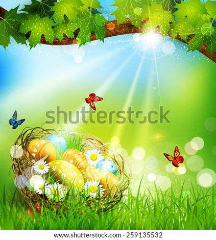 vector background with Easter nest and eggs on the meadow under a tree - stock vector
