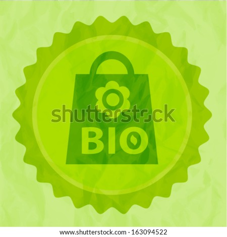 Vector background with eco bag and crumpled paper texture - stock vector