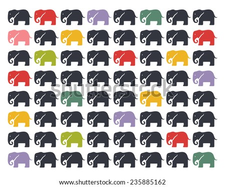 Vector background with elephants - stock vector