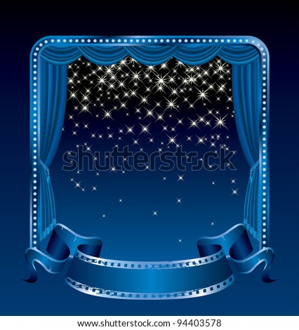 vector background with falling stars on blue stage - stock vector