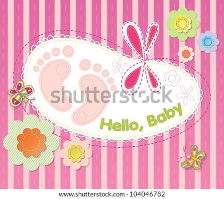 vector background with festive flowers and embroidery. Welcome infant baby. - stock vector