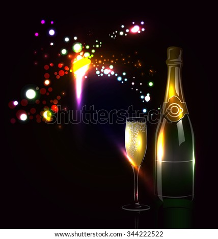 Vector background with fireworks and champagne - stock vector