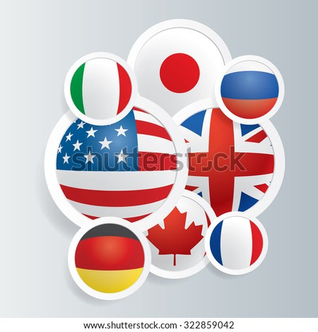 Vector background with flags of G8 countries. - stock vector
