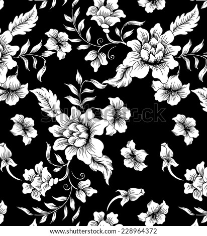 Vector background with flowers.abstract floral on black background.