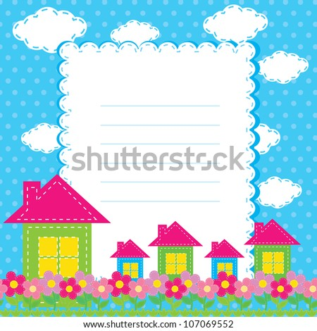 vector background with flowers and a home for children - stock vector
